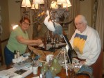 Marilyn Gulker& June painting the Great Blue Heron